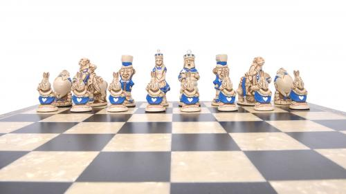 Studio Anne Carlton Alice in Wonderland British Hand Made Chess Set Blue team