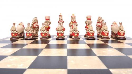 Studio Anne Carlton Alice in Wonderland British Hand Made Chess Set Red Team