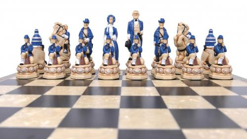 Studio Anne Carlton American Civil War British Hand Made Chess Set blue team