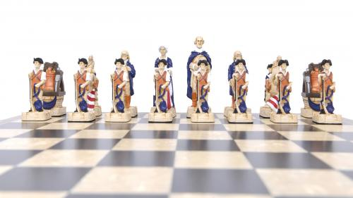 Studio Anne Carlton American Revolutionary War British Hand Made Chess Set American Team