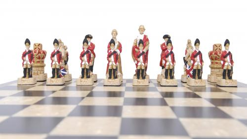 Studio Anne Carlton American Revolutionary War British Hand Made Chess Set British Team