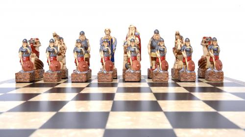 Studio Anne Carlton Celtic and Vikings British Hand Made Chess Set Viking Team