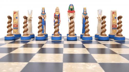 Studio Anne Carlton Egytptions British Hand Made Chess Set Blue team