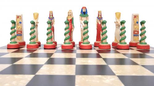 Studio Anne Carlton Egytptions British Hand Made Chess Set Red Team