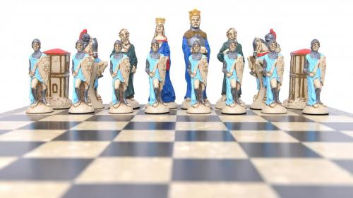 Studio Anne Carlton King Arthur British Hand Made Chess Set Boue Team