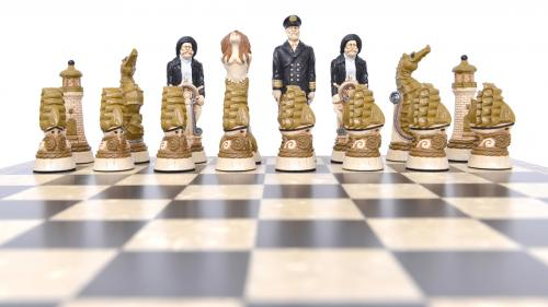 Studio Anne Carlton Nautical British Hand Made Chess Set Black team