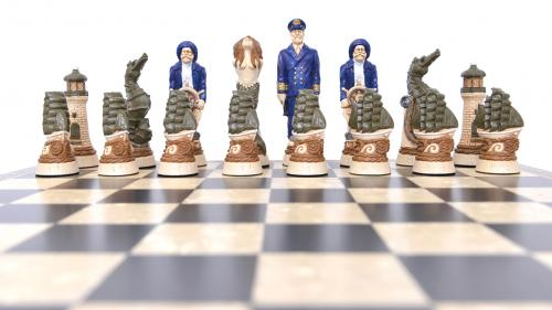Studio Anne Carlton Nautical British Hand Made Chess Set Blue Team