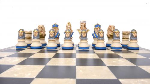 Studio Anne Carlton Richard the Lionheart British Hand Made Chess Set Blue team