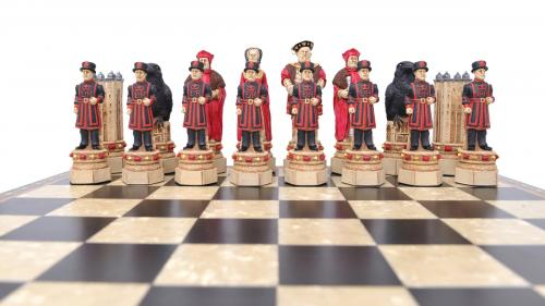 Studio Anne Carlton Tower of London British Hand Made Chess Set Red Team
